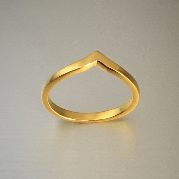 Gold Plated Sterling Silver Chevron Ring, Silver Ring, Gold Rings, V Shape Ring