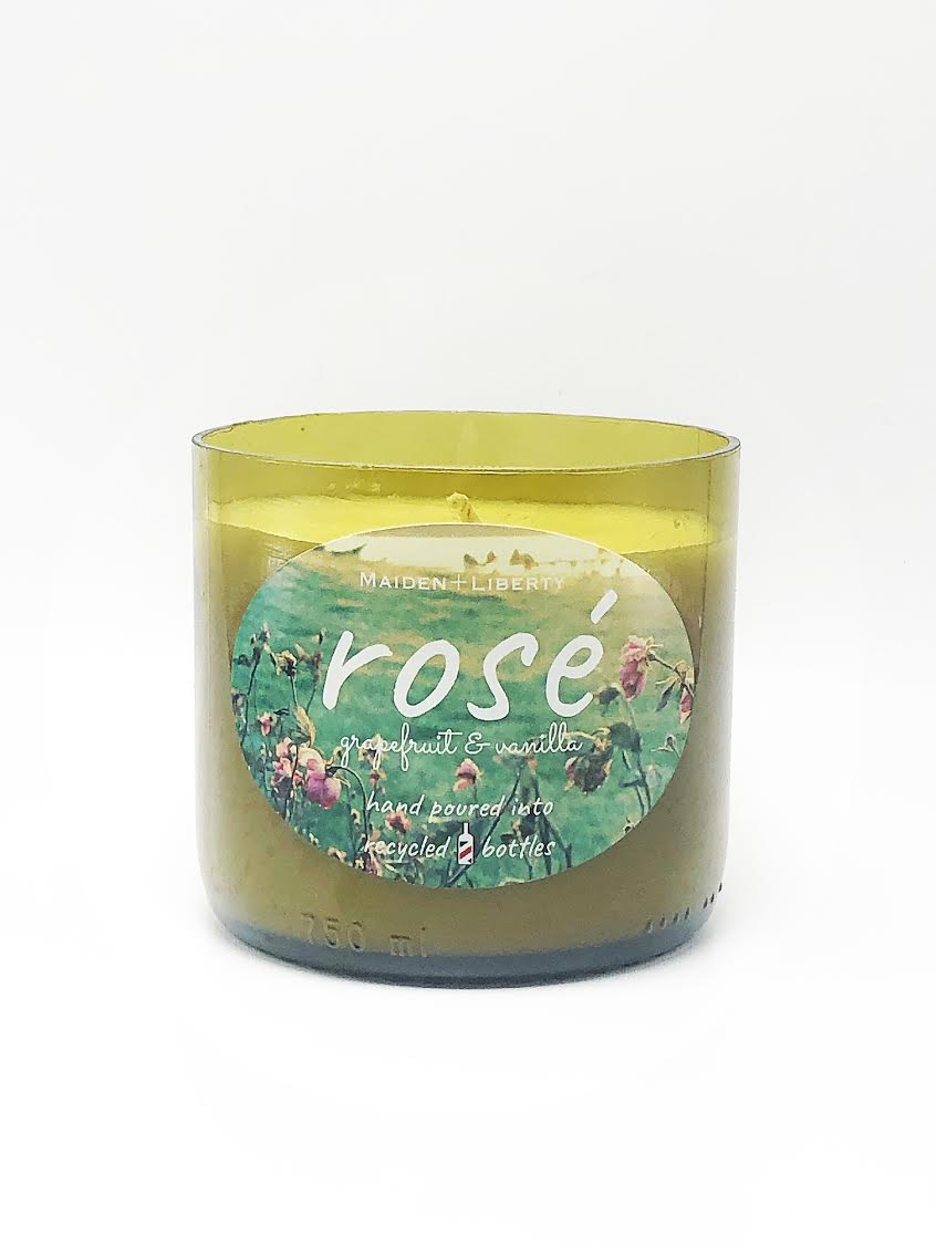 Rosé Recycled Wine Bottle Candle