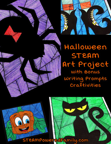 Halloween Art and Math Activity with Bonus Writing Prompts Craft