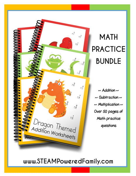 Dragon Math Practice Bundle - Includes Addition, Subtraction & Multiplication