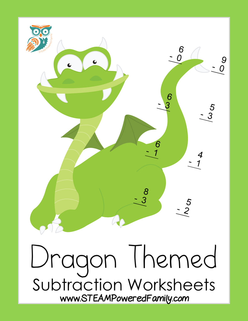 Dragon Math Practice Sheets - Subtraction