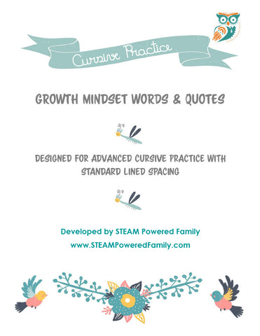 Growth Mindset Cursive Practice Pack