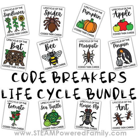 Code Breakers Life Cycle Bundle - 12 Different Plants, Animals and Insects