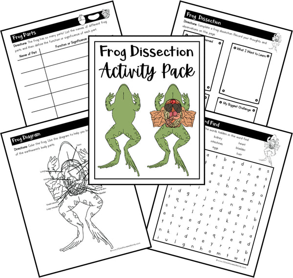 Virtual Dissections - Frog, Pig, Earth Worm and Crayfish Printable Activities