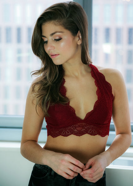 Everlasting Love Bralette: Burgundy