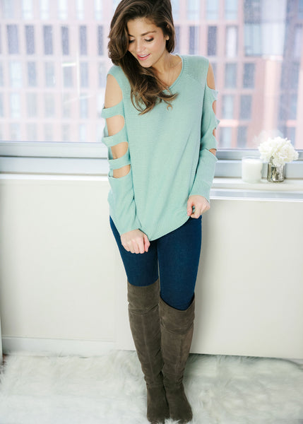 Feeling Fine Sweater: Mint