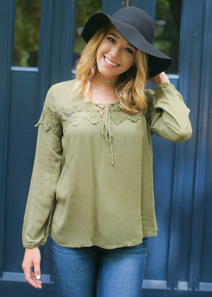 Cute And Flirty Top: Olive