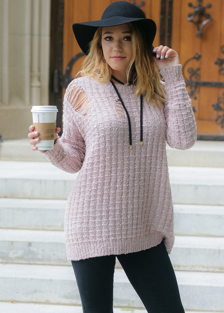 Torn About You Sweater: Blush
