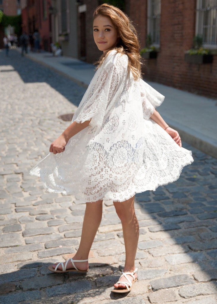 Wrap Me Up In Lace Cardigan: White