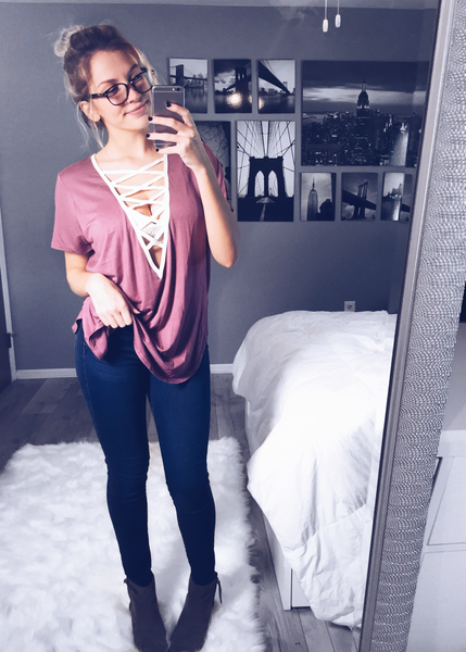 Cross My Heart Top: Rose Mauve