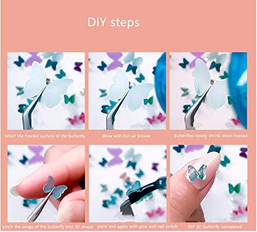 Shrinkable 3D Butterfly Nail Art Stickers