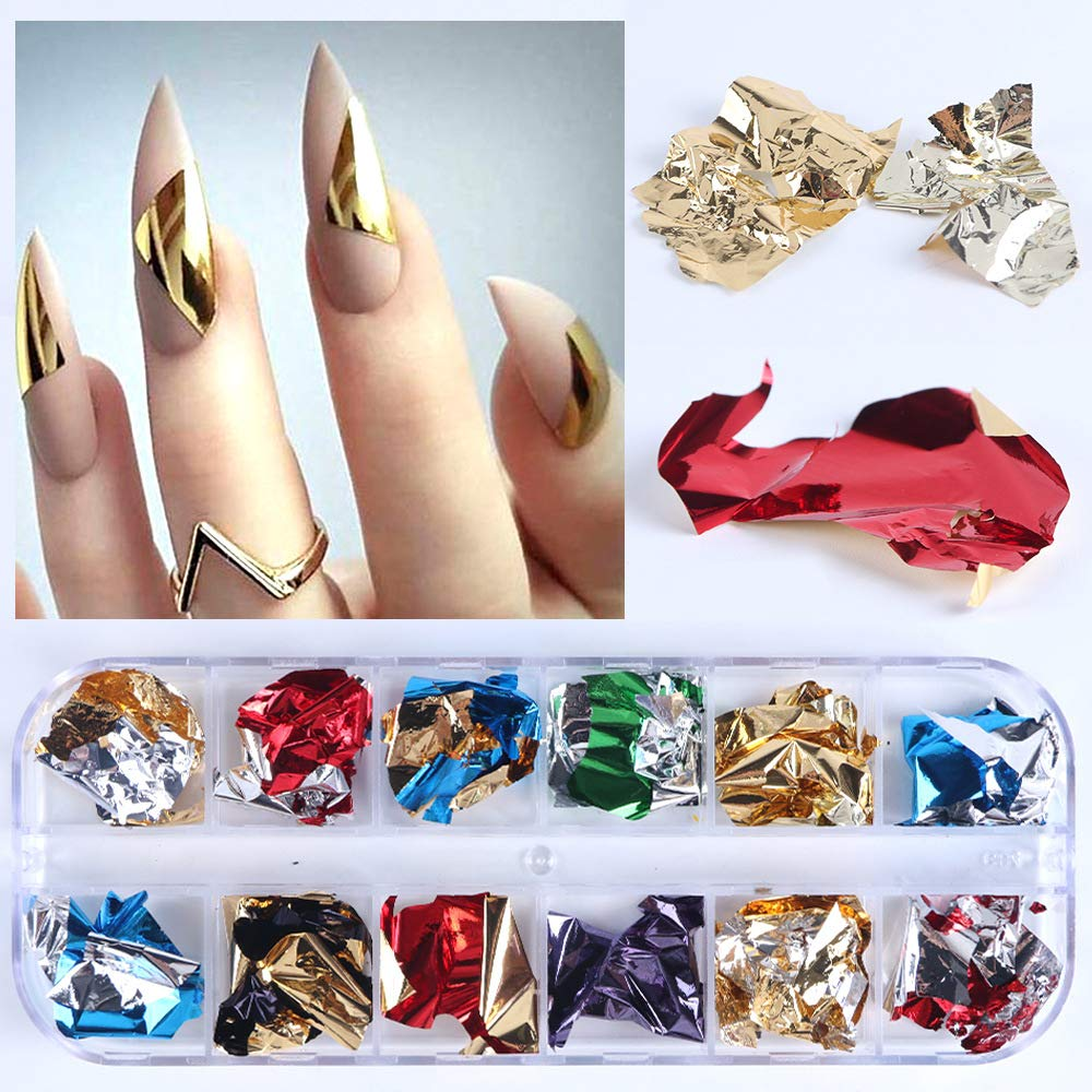 12 Color Aluminum Foil Nail Flakes
