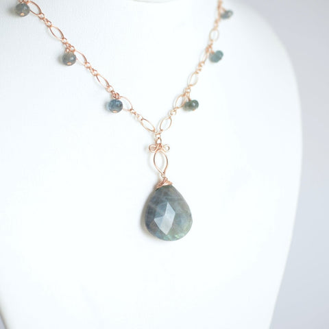 Abby - Labradorite, Moss Aquamarine and Rose Gold Filled Necklace