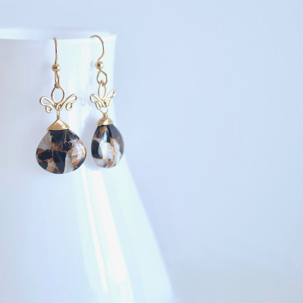 Adamaris - Copper Calcite and Obsidian and 14k Gold Filled Earrings