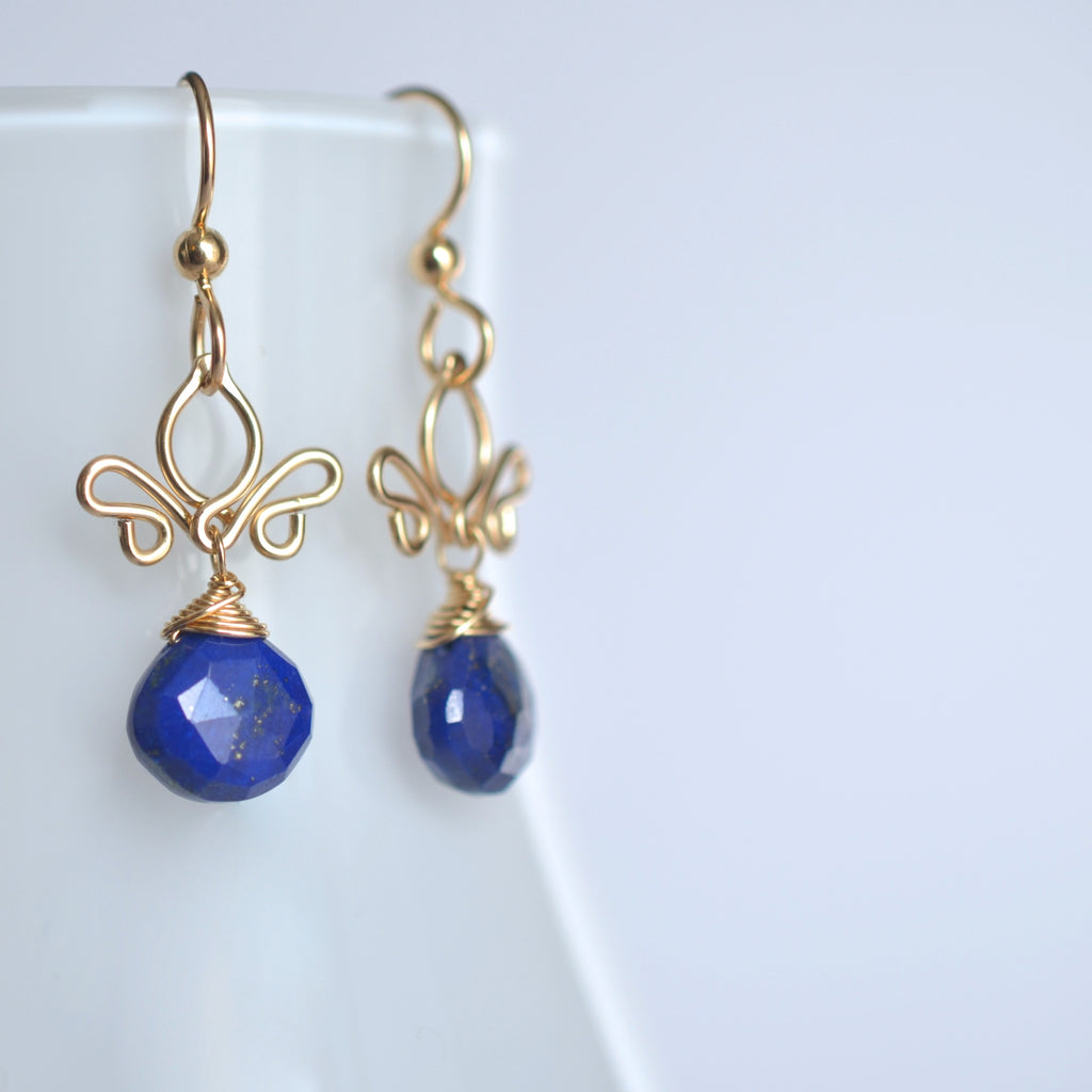 Adamaris- Lapis Lazuli, 14k Gold Filled Earrings