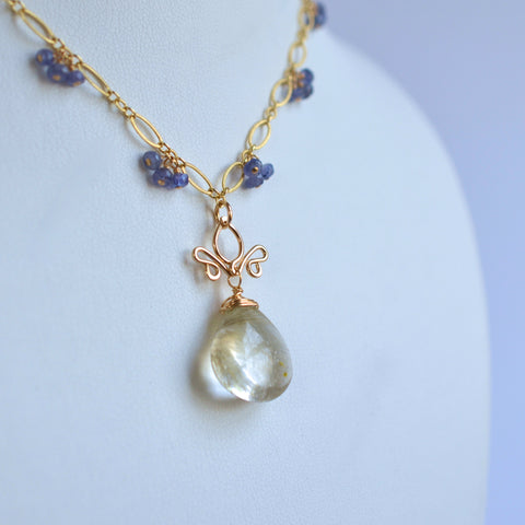 Adamaris - Rutilated Quartz, Tanzanite 14k Gold Filled Necklace