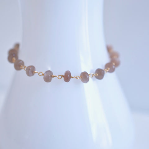 Afissa - Brown Moonstone, 14k Gold Filled Bracelet