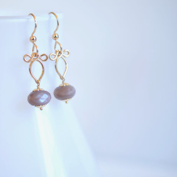 Afissa - Brown Moonstone, 14k Gold Filled Earrings