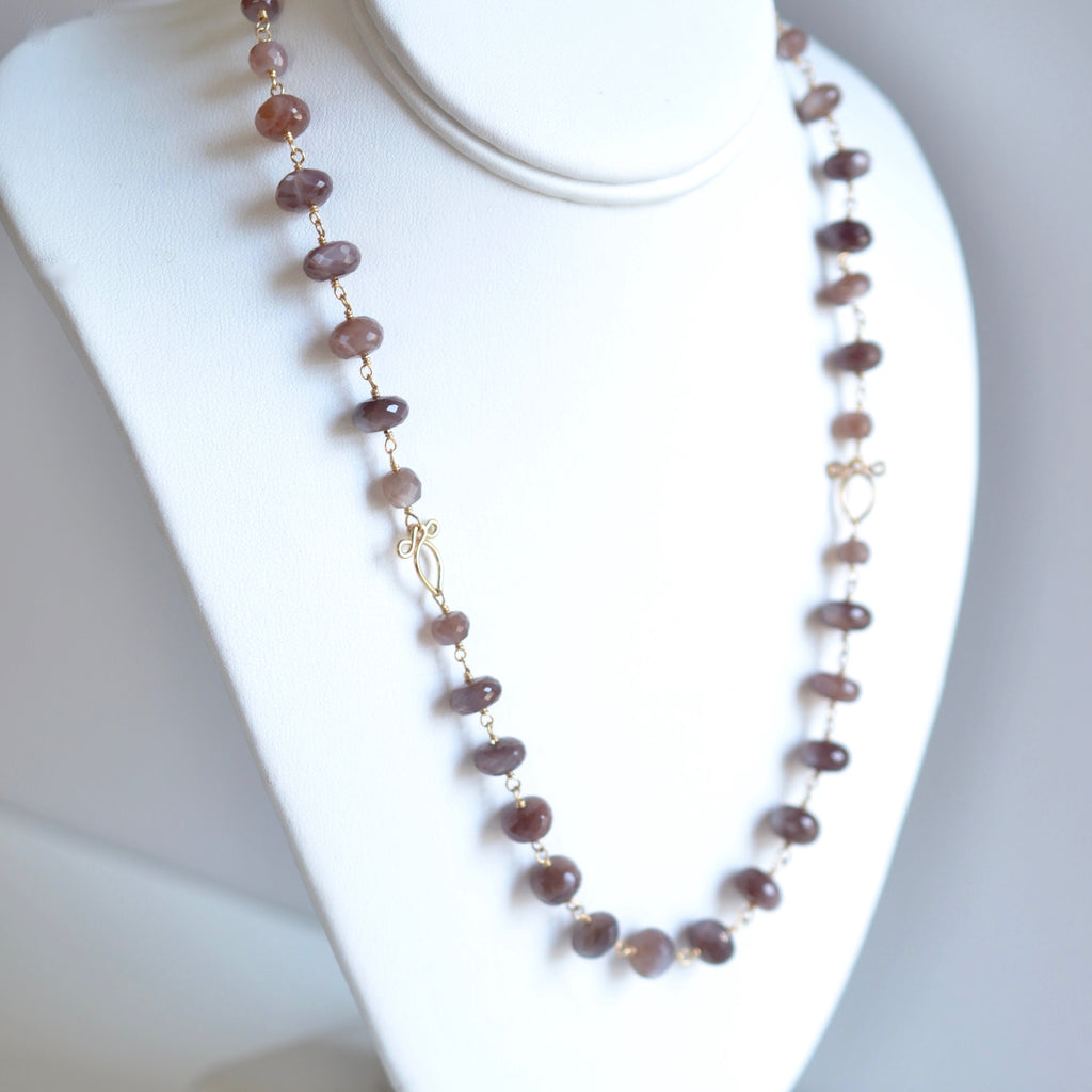 Afissa - Brown Moonstone, 14k Gold Filled Necklace