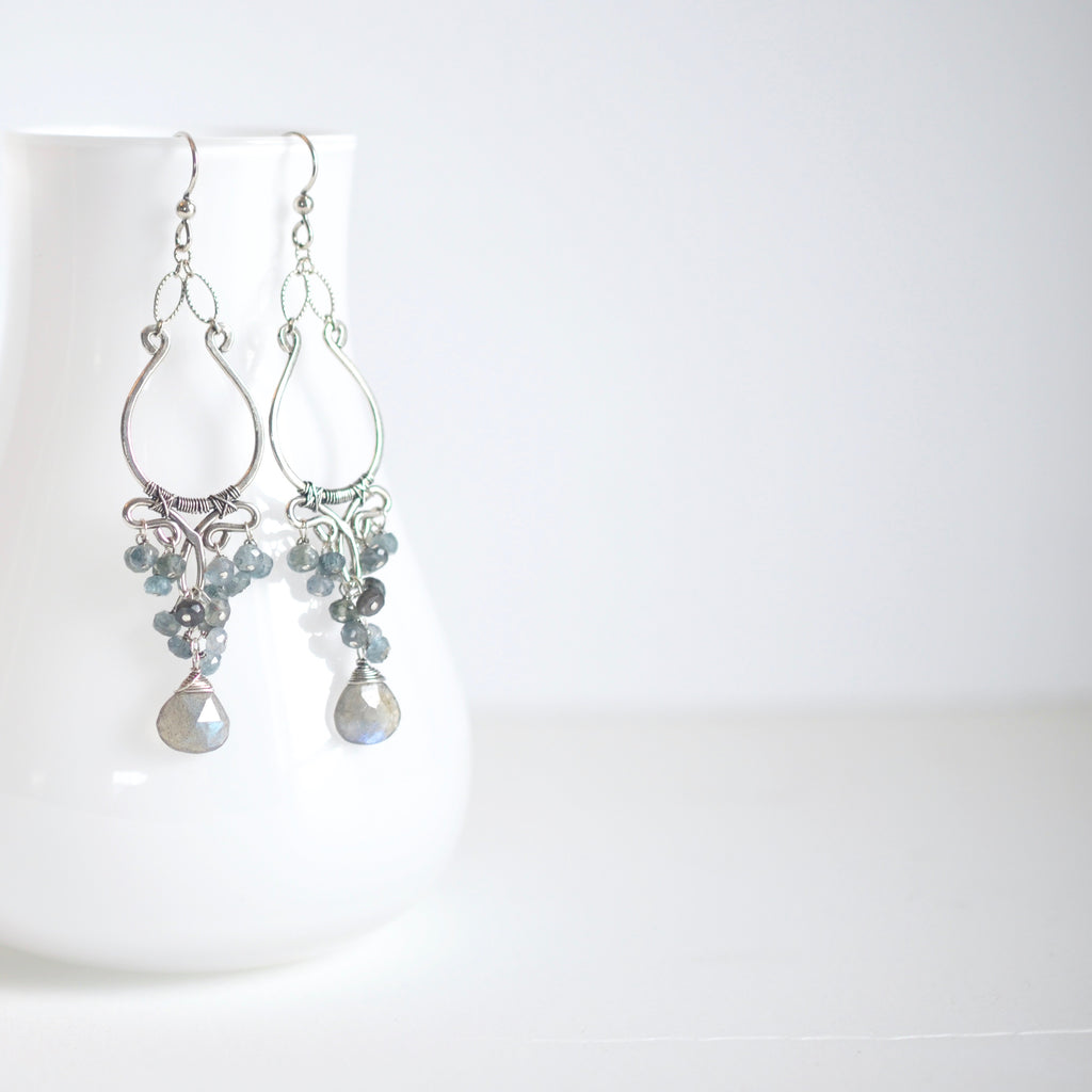 Alana - Labradorite, Aquamarine, Oxidized Silver Earrings