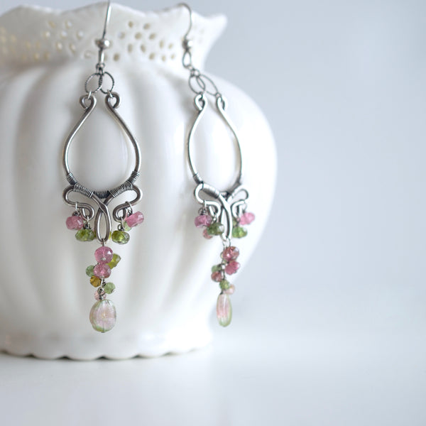 Alana - Watermelon Tourmalines, Pink and Green Tourmalines, Oxidized Silver Chandelier Earrings
