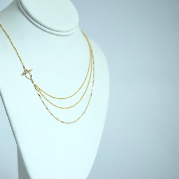 Alexandria - Draped 3 Layer 14k Gold Filled Necklace