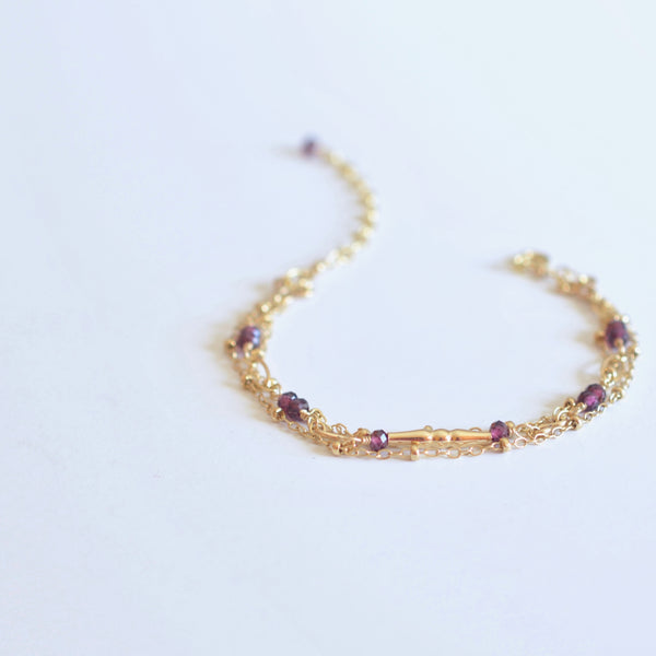 Amalia - Rhodolite Garnet, 14k Gold Filled, Three Strand Bracelet
