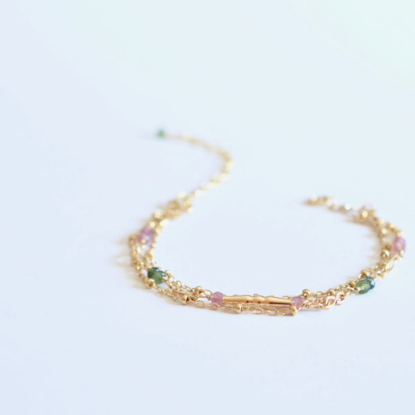 Amalia - Tourmaline, 14k Gold Filled, Three Strand Bracelet