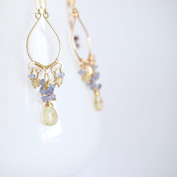 Amelia - Rutilated Quartz, Tanzanite 14k Gold Filled Chandelier Earrings