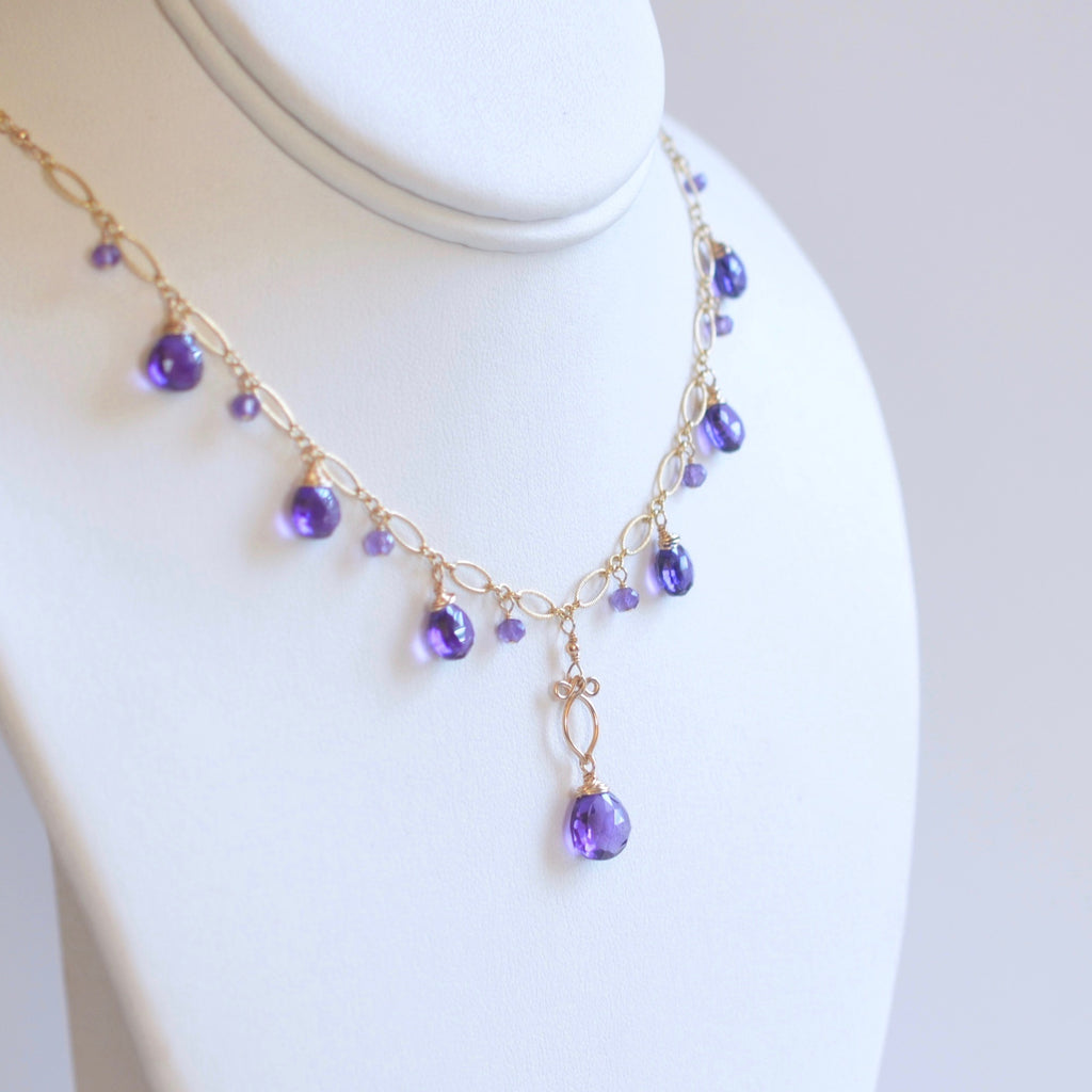 Natasha - Amethyst, 14k Gold Filled Necklace
