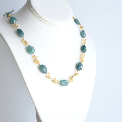 Anastasia - Grandidierite and Ethiopian Opal, 14k Gold Filled Necklace