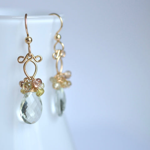 Anastasia - Prasiolite and Zircon, 14k Gold Filled Earrings