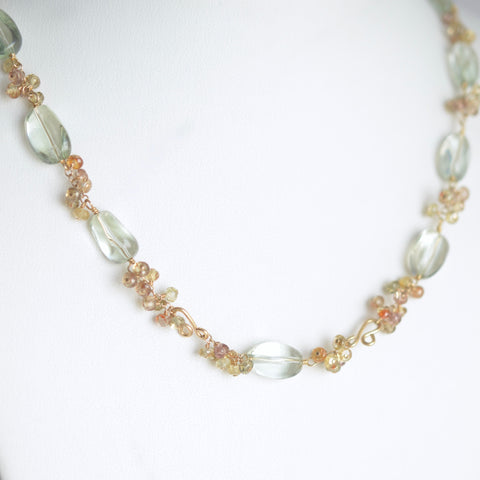 Anastasia - Prasiolite and Zircon, 14k Gold Filled Necklace
