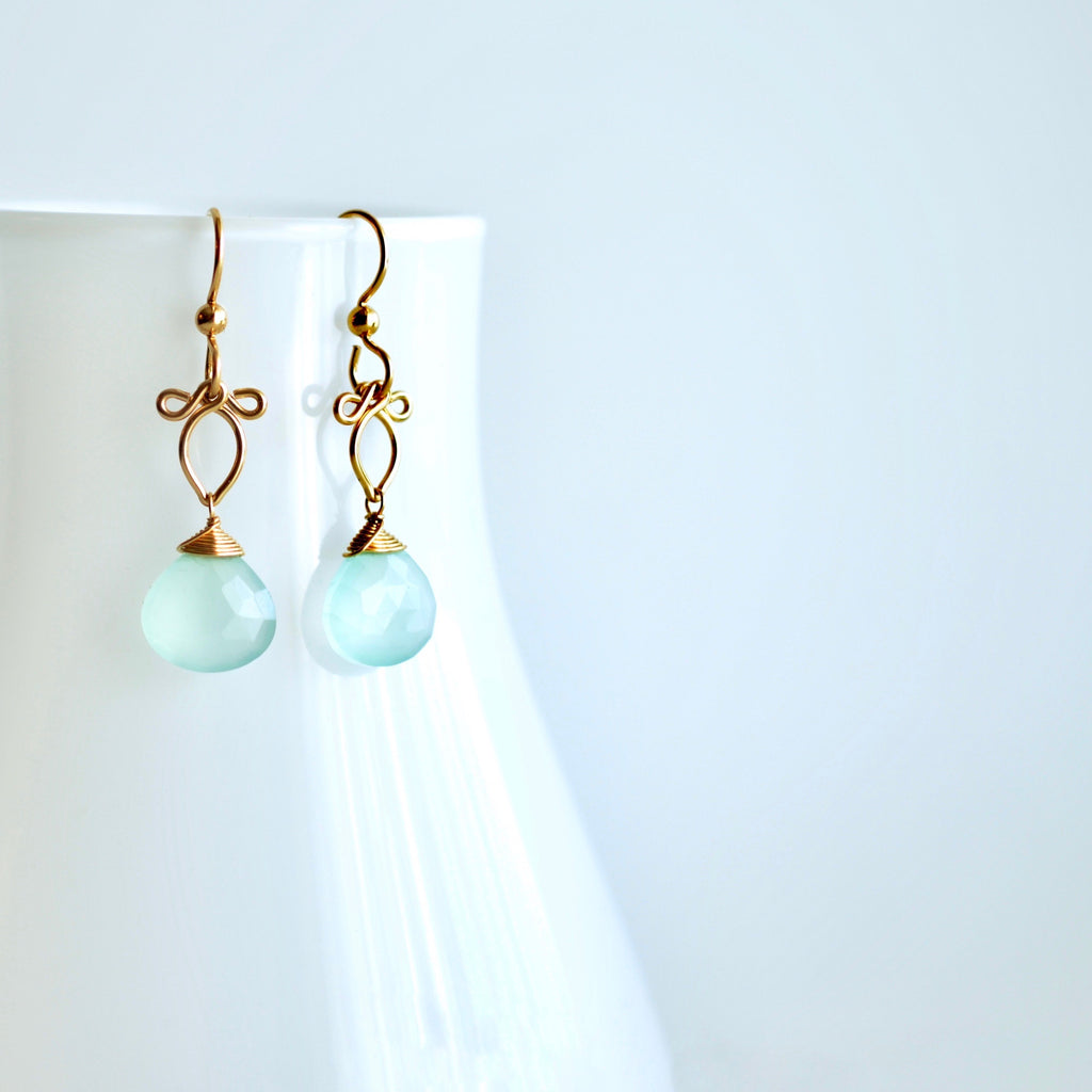 Andressa - Aqua Chalcedony, 14k Gold Filled Earrings
