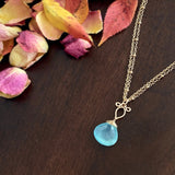 Andressa - Aqua Chalcedony, 14k Gold Filled Necklace