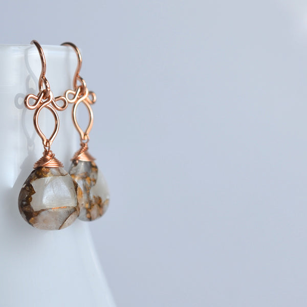 Andressa - Copper Calcite, 14k Rose Gold Filled Earrings