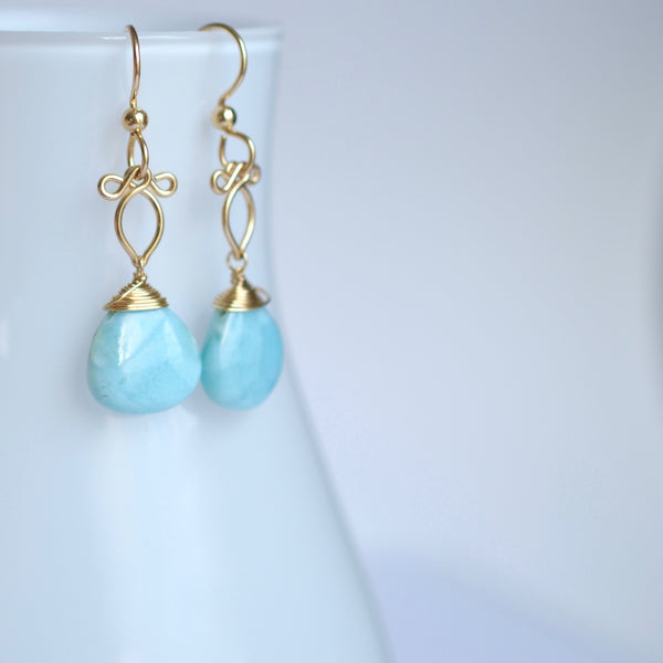 Andressa - Larimar and 14k Gold Filled Earrings