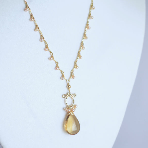 Anitta - Whikey Quartz, White Freshwater Pearls, 14k Gold Filled Necklace