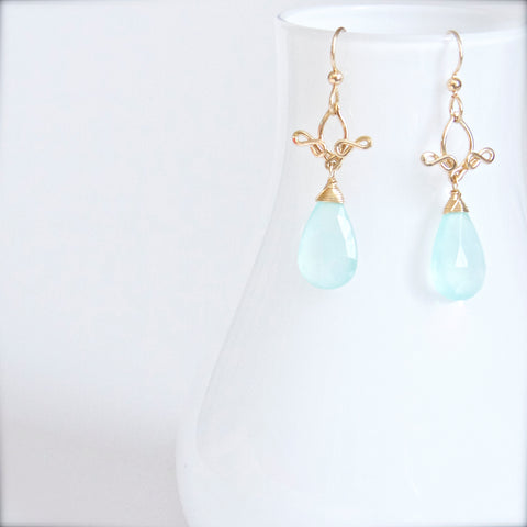 Pamela - Chalcedony, 14k Gold Filled Earrings