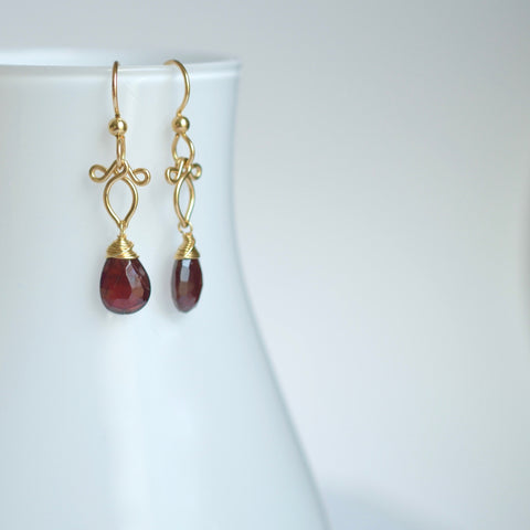 Arabella - Red Garnet 14k Gold Filled Earrings