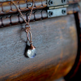 Petite Arabella - Moonstone, 14k Rose Gold Filled Necklace