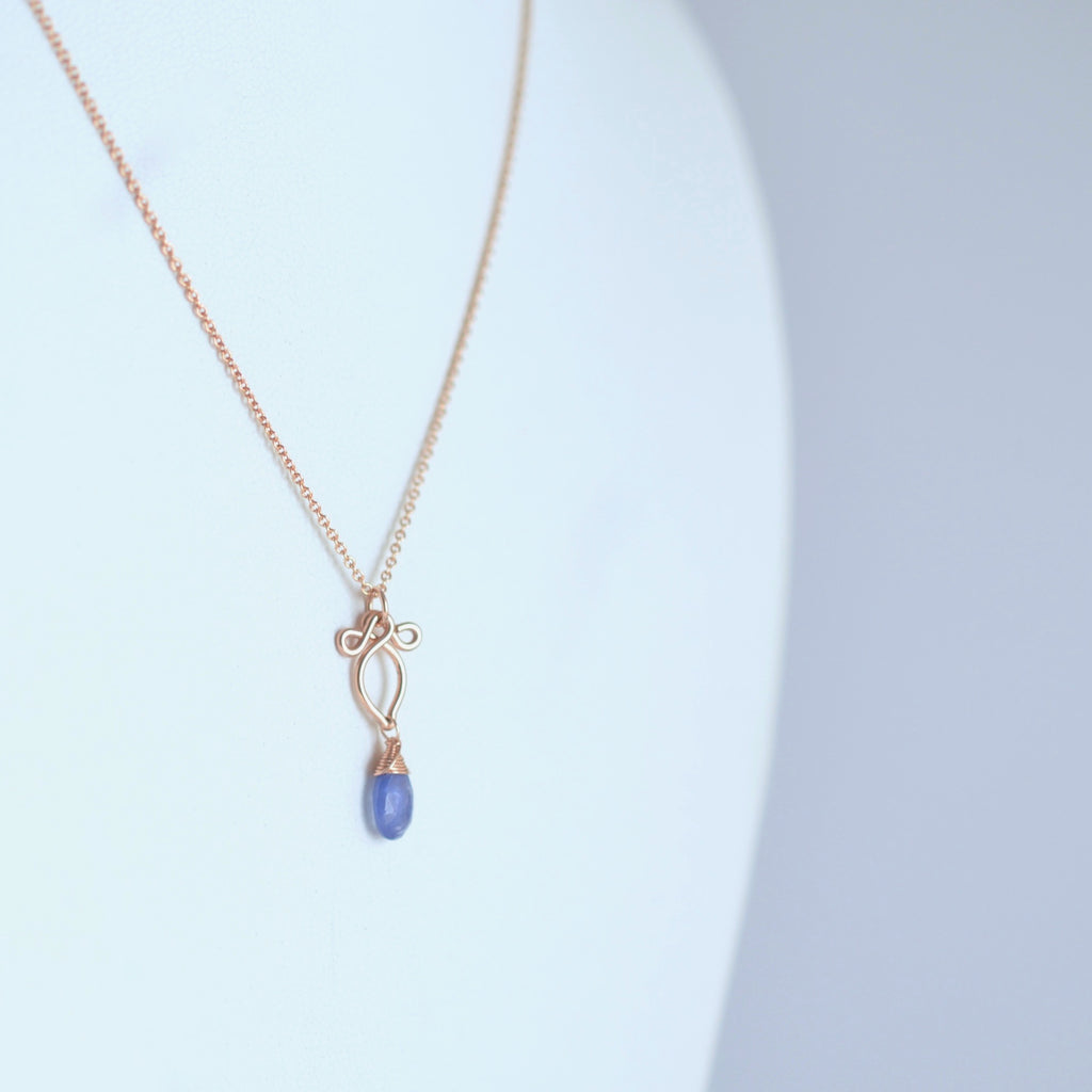Petite Arabella - Tanzanite, 14k Rose Gold Filled Necklace
