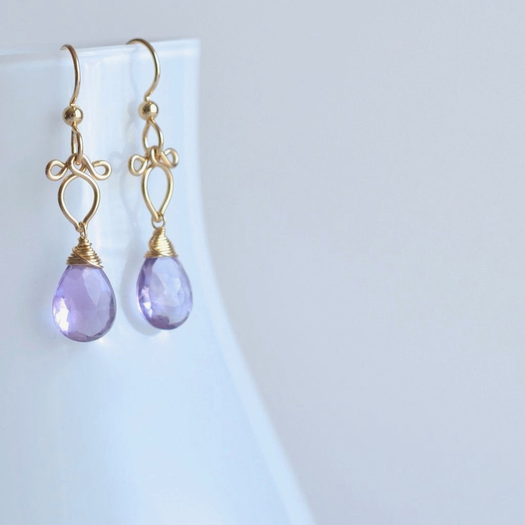 Michaela - Amethyst, 14k Gold Filled Earrings