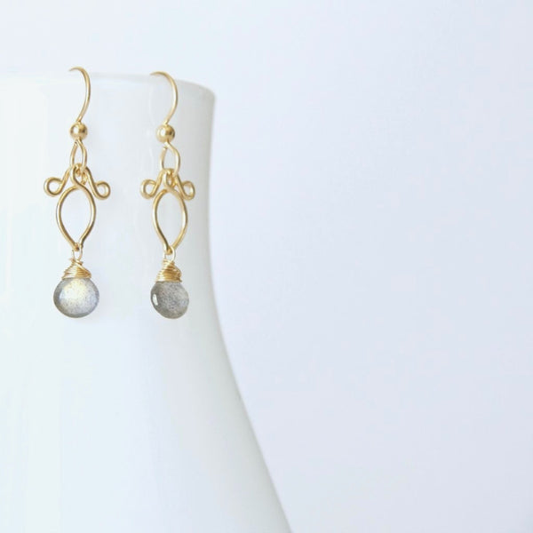 Arabella - Labradorite, 14k Gold Filled Earrings