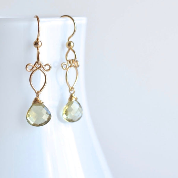 Arabella - Olive Quartz, 14k Gold Filled Earrings