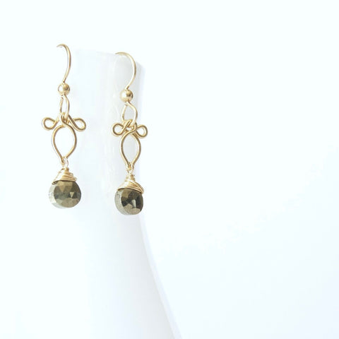 Arabella - Pyrite, 14k Gold Filled Earrings
