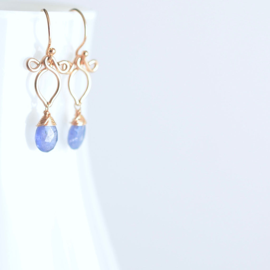 Arabella - Tanzanite, 14k Rose Gold Filled Earrings