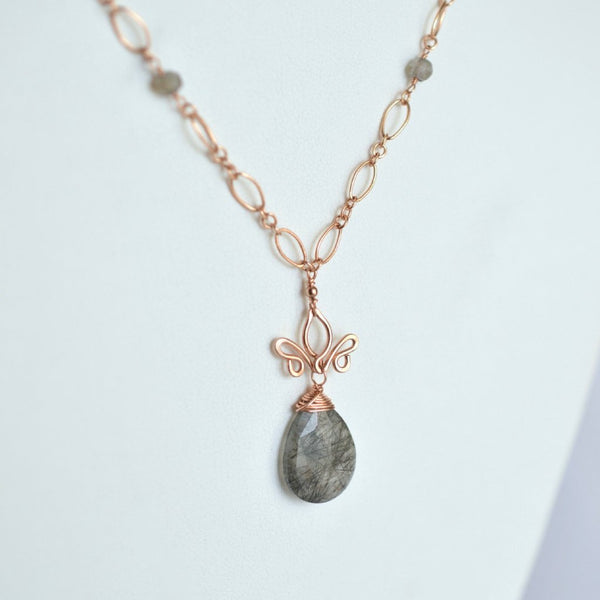 Aracelis - Tourmalinated Quartz, Labradorite and Rose Gold Filled Necklace