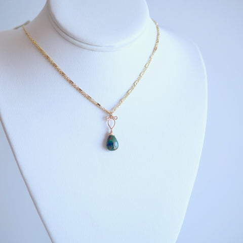 Arianna - Copper Azurite and 14k Gold Filled Necklace