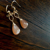 Arianna - Peach Moonstone,  14k Gold Filled Earrings